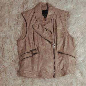 Faux Leather Vest - Tan